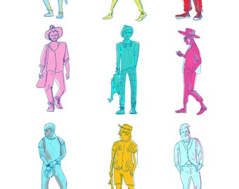 Trendy Men Illustration - A4 Size Bright, Hipster, Fluro Fashion Poster, Art Print