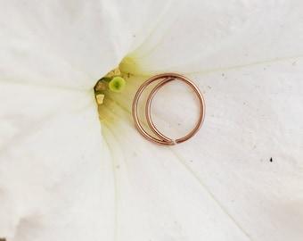 Rose Gold Nose Ring, 14k Rose Gold Septum Ring, Moon Nose Ring, Crescent Moon, Nose Jewelry, 22g Nose Ring, Nose Hoop, Nose Studs,