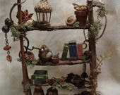 NEW! Fairy House Bookshelf. Miniature, OOAK. Custom Made to Order