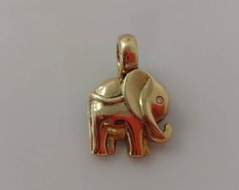 14k Elephant Pendant W/ Diamond