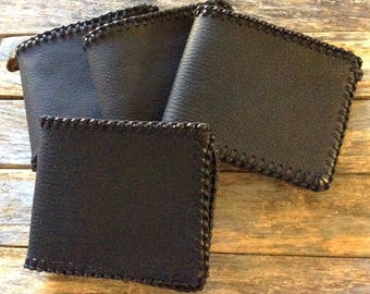 Black Leather Wallet, Soft Leather Wallet, Billfold Wallet Men, Hand Stitched, Leather Money Holder, Ready to Ship, Michigan Made, Men Gift