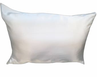100% Mulberry Silk Pillowcase with Hidden Zipper Ivory White color Standard, Queen and King Size