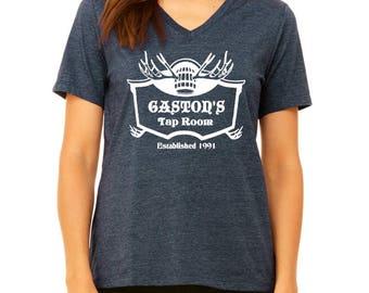 Disney Shirts Womens V Neck Gaston's Tap Room Shirt Gaston Shirt Beauty and the Beast Shirt disney shirt disneyland Disney World