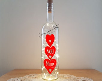 Bottle Light Kit - Love You Mum, Mother's Day Gift, Wine Bottle Light, Unusual Gift, Wine Bottle Lamp, DIY Craft Kit, Table Decor, Upcycle