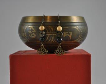 Yoga earrings, Yoga jewelry, Lotus flower earrings, Tan earrings, Black earrings, Asian earrings, Dangle earrings, Bronze earrings