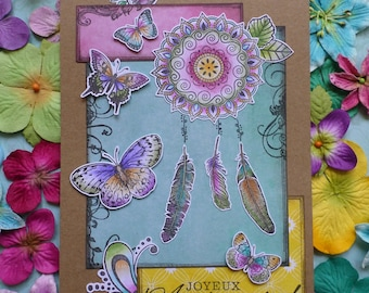 Card dream catcher feather birthday Pop colors
