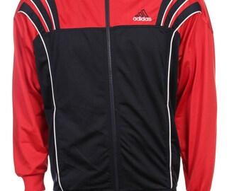 Vintage Adidas Windbreaker Tracksuit top jacket Red/White/Black Size S/M