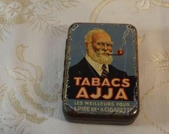 Boite tôle tabacs Ajja. Tobacco tin box. Vintage
