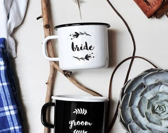 Bride and Groom Mug Set Enamel Mug Personalized Wedding Mug Custom Wedding Mug Couples Mug Set Couples Gift Newlyweds Coffee Mug Bride Gift