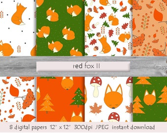 DIGITAL PAPER Fox, Foxes Scrapbook Papers, Animals Pattern, Foxes Patterns, Cute Woodland Animals, Autumn Fox Print, Download Instant