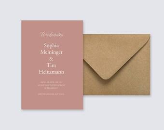 Hochzeit Einladung, Koralle, Minmalistisch, Hochzeitskarte, Stylish,  Kalligrafie, Einladungskarte Set,