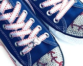 """Baseball Shoelaces. 3/8"""" White Grosgrain Ribbon w/ Red Saddle Stitch. Custom Sizes. Converse Shoes, Running Shoes, Sneakers, Baseball Shoes"""