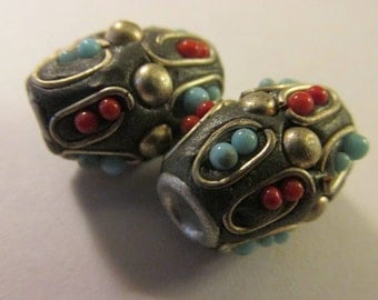 """Handcrafted Kashmiri Tubular Bead with Metal Coiling and Mini Beads, 3/4"""", Set of 2"""