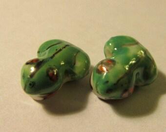 """Little Green Frog Ceramic Beads, 5/8"""", Set of 2"""