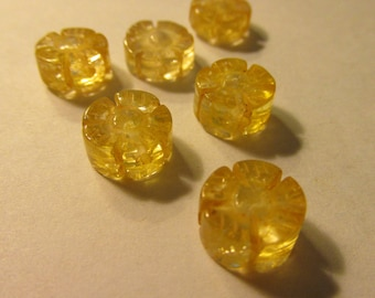 Carved Yellow Crystal Cherry Blossom Beads, 10mm, Set of 6