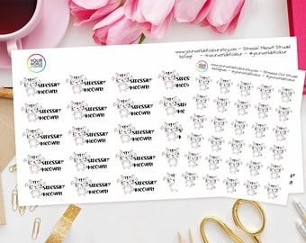 Stressed Cat Planner Stickers - perfect for Erin Condren Life Planner, Kikki K, Happy Planner, Kate Spade,Filofax Planner, Adulting, Mood