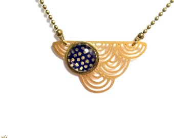 Necklace asymmetrical Choker connector cloud pattern gold on blue dots night