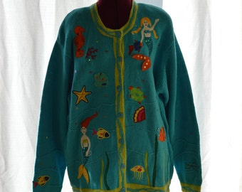 Under The Sea Mermaid Womens Size Large Button Up Sweater