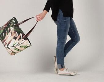 Canvas Tote Bag, Beach tote Bag, Casual Tote Bag, leaves tote Bag, Summer bag, leaves Bag, tropical tote bag, Lagut, plants bag, spring bag