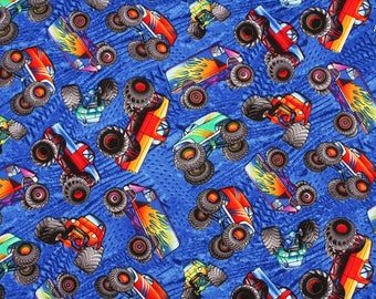 Monster Truck Cotton Fabric by the Half Yard