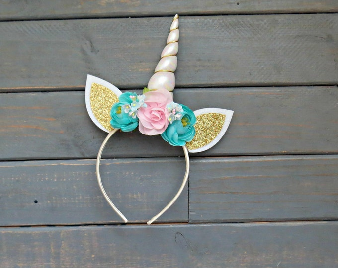 Fairy Floral Unicorn Headband, Unicorn Crown, Floral Headband, Unicorn Birthday, Gifts For Girls, Photo Prop Headband