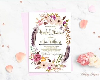 Floral Bridal Shower Invitation Boho Bridal Shower Invite Floral Wreath Spring Bridal Party Summer Bridal Shower Gold Foil Typography Invite