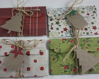 Christmas Gift Card Money Holders Pack of 4 Includes Tags And Twine 14 Piece Set Handmade Great for Cash Or Small Flat Gifts Polka Dot