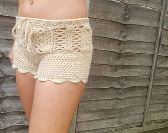 Women's crochet lacey beige shorts.