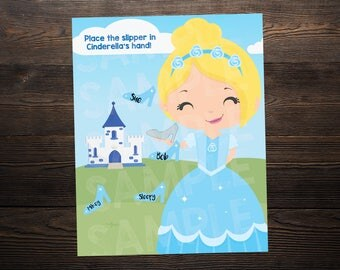 Cinderella Princess Birthday Party Game // Place the apple in the hand  // High Resolution Digital Download JPEG & PDF