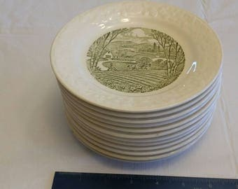 "antique 12 piece taylor smith taylor pastoral dinnerware bread plates 6.5"" -  green transferware farm pictures farming photos art vintage"
