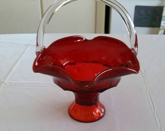 vintage footed ruby red 1960 's glass basket - ruffled edge clear handle antique - easter fruit candy dish bowl art studio kitchen serving
