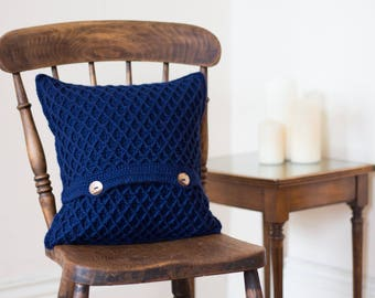 Navy Blue Modern Pillow Cover, Scandi Cushion, Scatter Cushion, Gift For Him, Gift For Mum, Bedroom Pillow, Cozy Pillow, Chair Cushion