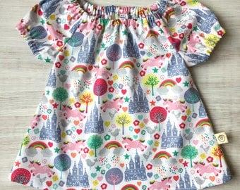 Unicorn print girls peasant dress