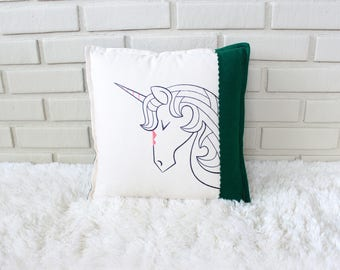 Unicorn Pillow / Embroidered Pillow Cover / Fairy Tale Decor / Girl's Room / Fantasy Nursery / Embroidery Art
