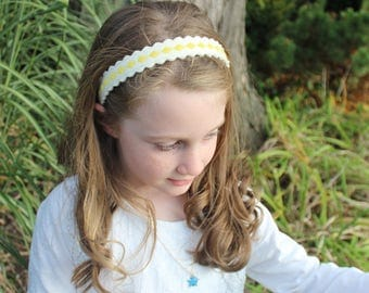 Merino Wool Felt Headband - Soft White with Yellow Diamonds / Embroidered Headband / Girl's Fashion / Hair Accessories / Mommy and Me