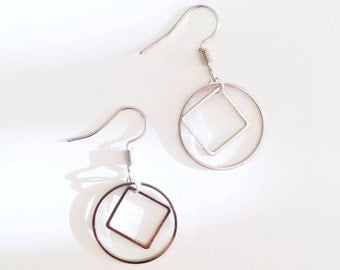 Silver Geometric Hoops Drop Earrings / Minimalist Simple Boucles d'Oreilles Argentées / Chic Circular Square BO / Gift Idea / For Minimalist