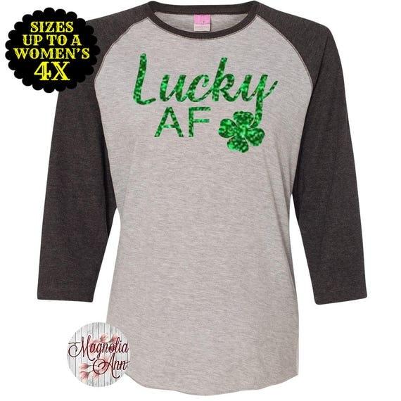 Lucky AF Shamrock Baseball Raglan T shirt, Sizes Small-4X, St Patrick's Day Shirt, St Patrick's Day Tee, Plus Size Clothing, Plus Size Shirt