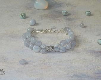 Delicate Natural Lacy Blue Agate Bracelet, Beaded Bracelet, Gemstone Bracelet, Blue Bracelet, Agate Bracelet, Tender Bracelet, Lacy Agate