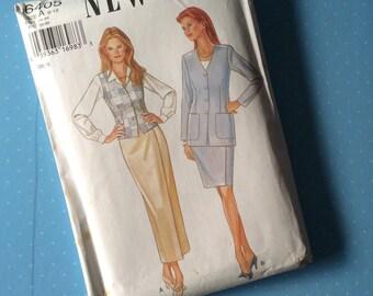 Vintage Sewing Pattern - New Look 6405 - Retro 1990's Dressmaking Pattern - Blazer Waistcoat Skirt Sew Pattern - Multi Size 8 10 12 14 16 18