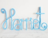 Personalised knitted name sign, MEDIUM SIZE, choose colour, wire sign, french knitting, nursery decor, gift for her, new baby gift