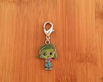 Inside Out Disgust zipper charm, Inside Out Disgust zipper pull, Inside Out Disgust keychain, Disney charm