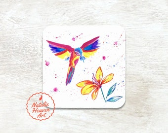 Colorful Bird Coaster, Personalised Gift Wife, Bird Lover Gift, Personalized Coasters, Colourful Wooden Coasters Rainbow Bird Drinks Coaster