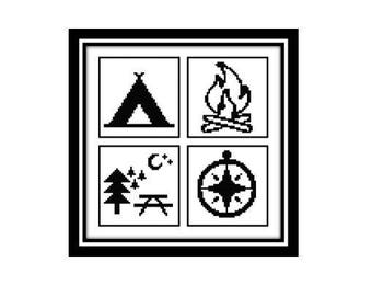 Travel Camping Cross Stitch Pattern Outdoors Tent Campfire Compass Picnic Bench [PDF Pattern Digital File Instant Download]