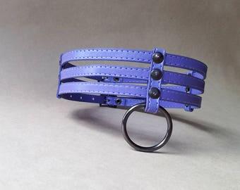 Purple faux leather bdsm collar. Pastel gothic o-ring choker. Kitten play collar. Submissive collar. Fetish wear. Vegan leather choker..