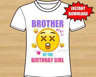 Emoji Birthday Iron On Shirt Transfer - tshirt or clip art printable - Instant Download - Brother of the Birthday Girl