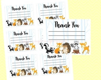 Thank You Baby Shower Note Card, Gender Reveal Baby Shower, Printable, Baby Shower Party, Woodland Design style