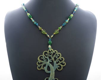 Tree of Life Ancient Bronze Tone Elegant Pendant Bead Necklace present gift for her teen ladies womens girls jewellery accessory UK SELLER