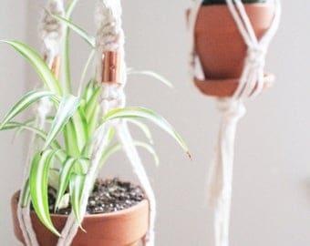 DIY Macrame Plant Hanger Kit / Natural White Cotton Rope / Wood Ring / Copper / Bohemian Home Decor / Hanging Planter / Craft Kit