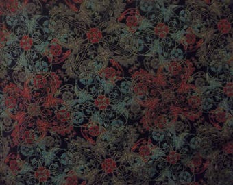 French Roosters Collection Penny Rose Cotton Fabric #101 Black