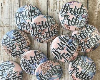 """SMALL 1.5"""" Buttons - Pineapple Theme! Bride Tribe, Bridal Shower, Bachelorette Party - 6-Pack or 10-Pack!"""
